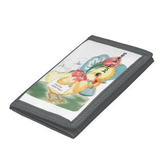 Easter Chick Greetings Trifold Wallets