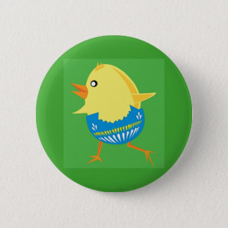 Easter Chick Hatching and Walking Pinback Button