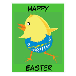 Easter Chick Hatching and Walking Postcard