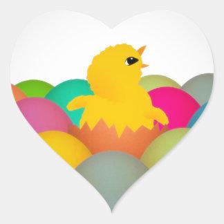 Easter chick heart sticker