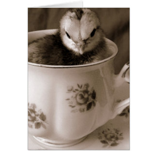 Easter Chick in a Teacup Card