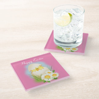 Easter Chick in Egg Glass Coaster