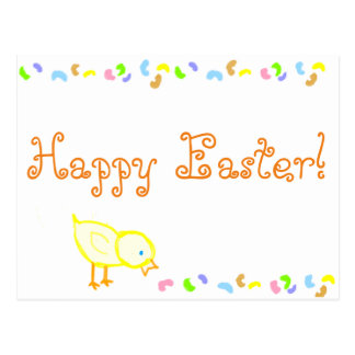 Easter chick & jellybeans postcard