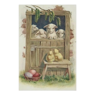 Easter Chick Lamb Barn Colored Painted Egg Poster