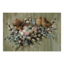 Easter Chick Nest Colored Egg Forget-Me-Nots Poster