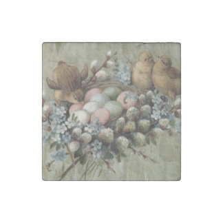 Easter Chick Nest Colored Egg Forget-Me-Nots Stone Magnet