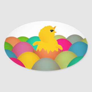 Easter chick oval sticker