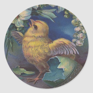 Easter Chick Painted Colored Egg Lily Classic Round Sticker