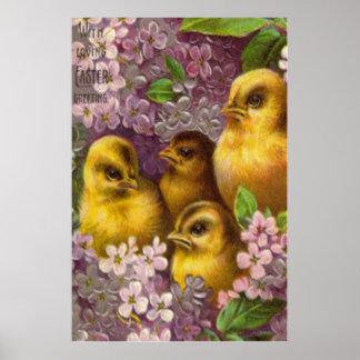 Easter Chick Purple Hydrangea Poster