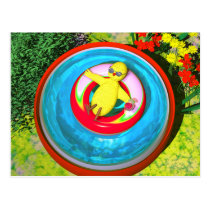 Easter Chick Relaxing in Swimming Pool Postcard