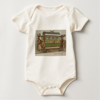 Easter Chick Rooster Trolley Baby Bodysuit