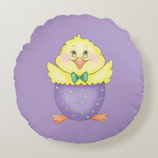 Easter Chick Round Pillow