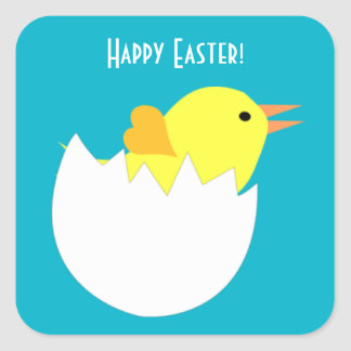 Easter Chick Square Stickers