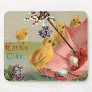 Easter Chick Umbrella Forget Me Not Egg Mouse Pad