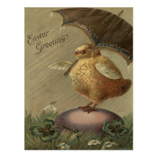 Easter Chick Umbrella Four Leaf Clover Postcards