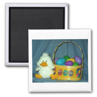 Easter Chick with Basket 2 Inch Square Magnet