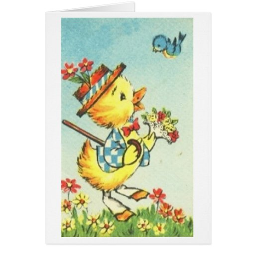 Easter Chick with Bluebird! Retro Easter Card Greeting Card