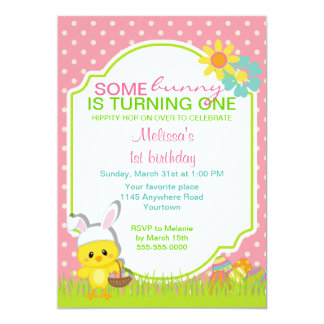 """Easter Chick with Bunny Ears Birthday Invitation 5"""" X 7"""" Invitation Card"""
