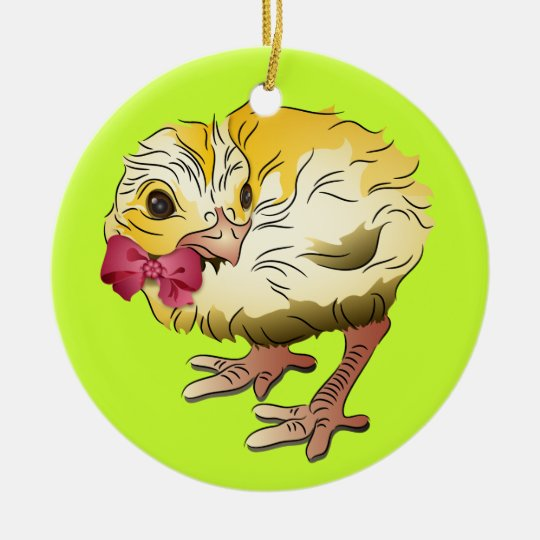 Easter Chick with Pink Bow Ceramic Ornament