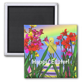 Easter Chicken and Flowers 2 Inch Square Magnet