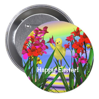 Easter Chicken and Flowers Button