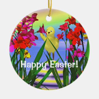 Easter Chicken and Flowers Double-Sided Ceramic Round Christmas Ornament