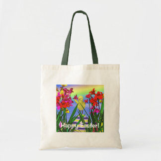 Easter Chicken and Flowers Tote Bag