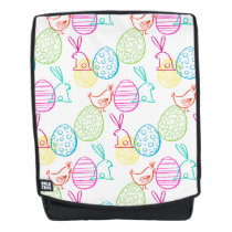 Easter chicken bunny sketchy illustration pattern backpack