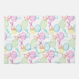Awesome Easter Chicken Bunny Sketchy Illustration Pattern Hand Towel