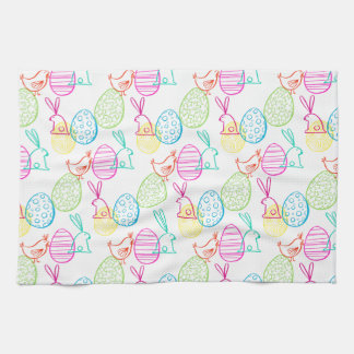 Lovely Easter Chicken Bunny Sketchy Illustration Pattern Hand Towel Good Looking