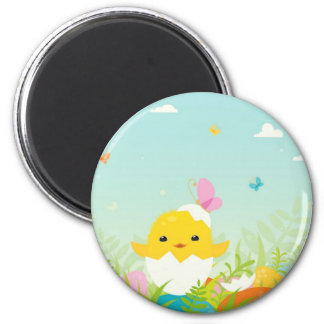 Easter chicken character 2 inch round magnet
