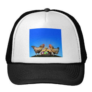 Easter Chicken Family with Easter Eggs Trucker Hat
