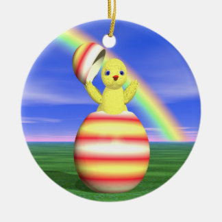 Easter Chicken Pop-up Double-Sided Ceramic Round Christmas Ornament