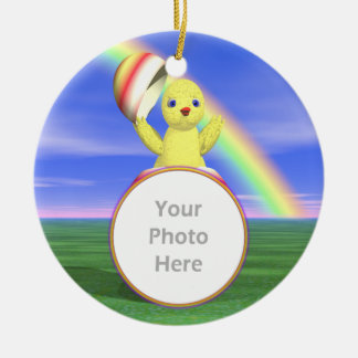 Easter Chicken Pop-up (photo frame) Double-Sided Ceramic Round Christmas Ornament