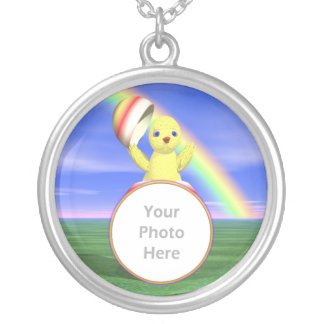 Easter Chicken Pop-up (photo frame) Round Pendant Necklace