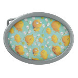 Easter chickens & Catkins Pattern Oval Belt Buckles