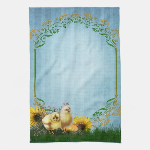 Sunflowers And Baby Chicks On Blue Background