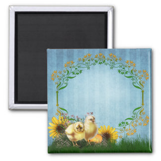Easter Chickens Square Magnet