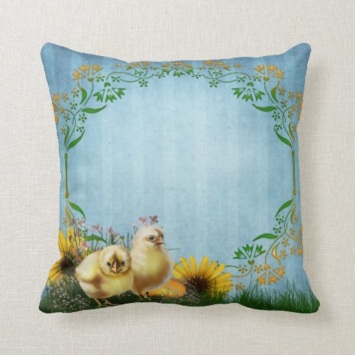 Decorative Pillows With Chickens : Easter Chickens Throw Pillow Zazzle