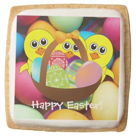 Easter chicks and Easter eggs Square Shortbread Cookie