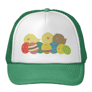 Easter Chicks And Eggs Cartoon Green Cute Trucker Hat