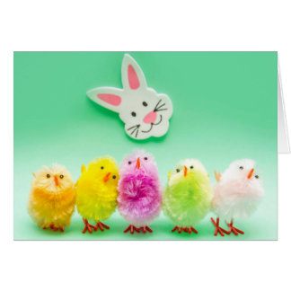 Easter Chicks and Rabbit Toys Deocoration Card