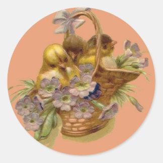 Easter-Chicks, Basket & Primroses-Antique Postcard Stickers
