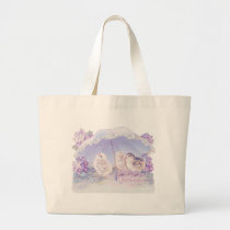 easter chicks bright blue large tote bag