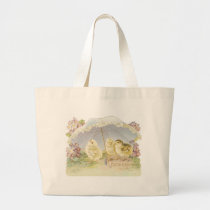 easter chicks bright large tote bag