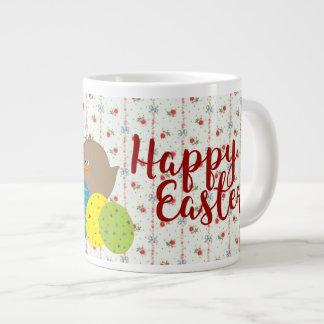 Easter Chicks Cartoon Cute Colorful Ornate Eggs Large Coffee Mug