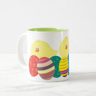Easter Chicks Cartoon Cute Colorful Ornate Eggs Two-Tone Coffee Mug