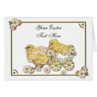 Easter Chicks Customizable Greeting Card