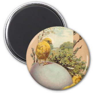 Easter - Chicks Egg PussyWillow- Antique Postcard 2 Inch Round Magnet