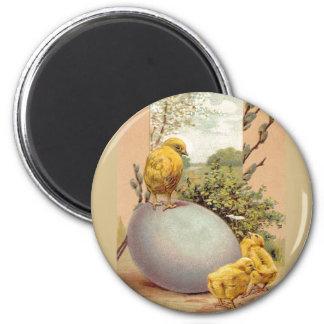 Easter - Chicks Egg PussyWillow- Antique Postcard Magnet